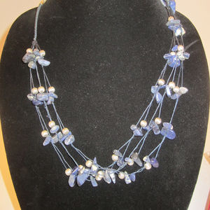 Blue Sodalite Nugget Strung Bead Necklace AVON EUC